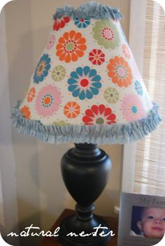 Recovered fabric lamp shade tutorial