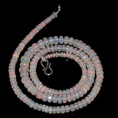 "80 CRTS 3.5to7 MM 20.5"" ETHIOPIAN OPAL FACETED RONDELLE BEADS NECKLACE OBI556 #OPALBEADSINDIA"