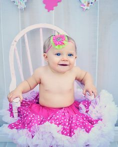 Birthday Pictures Bow Hot Pink Lime Green Lace Tulle Rhinestone by SweetEllasBoutique, $8.50