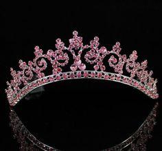SEXY PINK AUSTRIAN RHINESTONE CRYSTAL CROWN TIARA COMBS BRIDAL WEDDING  T301PINK Crystal Crown 9488454621da