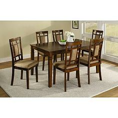 Dining Set With Upholstered Seats, Dark Oak Finish