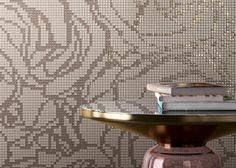 #spectile M series. Baroque Traces collection. Glass and matt glass chips from the Veterina range. #design #architecture #interiors #decor #homedesign #homeinteriors #ceramics #tiles #restaurant #cafe #bars #shoppingcentres #interiordesign #welovetiles #makeastatement #tilesitswhatwedo #mosaics #featurewall #mosaicwallpaper #romance #roses #glassmosaics #bathrooms #colour #hallways #walltiles #pink #gold #rosegold