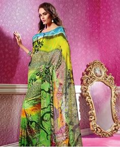 Buy Alluring Green And Yellow Georgette Sarees [APRG2922] at $64.63