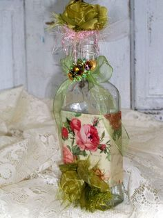 Decorated art recycled glass bottle shabby by AnitaSperoDesign, $27.00
