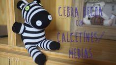 Muñeco de cebra hecho con calcetines medias ♥ ♥ Peluche fácil de hacer e...