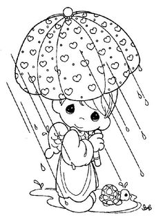 Free Coloring Pages Of Couples Precious Moments Boy In The Raining