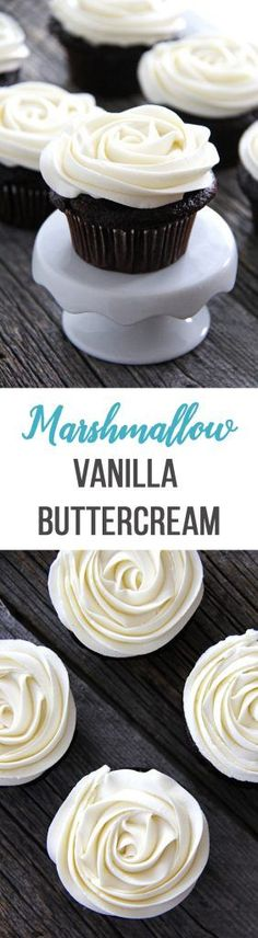 Marshmallow Vanilla Buttercream Frosting is the perfect icing for either chocolate or vanilla cupcakes! Will ice 12 - 16 cupcakes (thickly), or 24 cupcakes if spread more thin. Cupcake Recipes, Baking Recipes, Dessert Recipes, Gourmet Cupcakes, Party Recipes, Baking Ideas, Just Desserts, Delicious Desserts, Yummy Food
