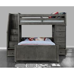 Harriet Bee Forest Twin Over Full Loft Bed with Bookcase Bed Frame Color: Gray Bunk Beds With Drawers, Bunk Beds With Storage, Bunk Bed With Trundle, Full Bunk Beds, Set Of Drawers, Bed Storage, Kid Beds, Loft Beds, L Shaped Bunk Beds