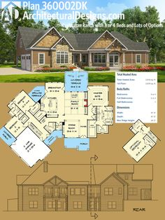 Architectural Designs Craftsman House Plan 360002DK has an angled garage, a split bedroom layout and a bonus room over the garage. Over 2,800 square feet of heated living space. Ready when you are. Where do YOU want to build?