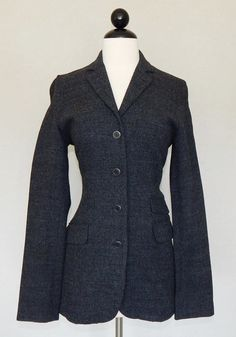 THEORY Charcoal Gray Stretch Wool Blend Knit Fitted Jacket Blazer Fall Winter M #Theory #BasicJacket