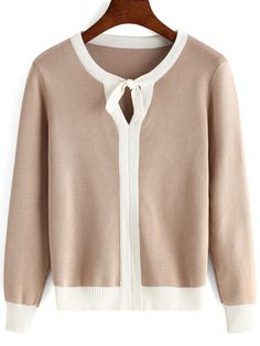 To find out about the Apricot Tie-neck Long Sleeve Crop Knitwear at SHEIN, part of our latest Sweaters ready to shop online today! Knitwear, Knitting Patterns, Arm, Blouses, Pullover, Long Sleeve, Model, Sweaters, Shopping