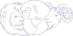 Lion Ram Globe Middle East Drawing Vector Stock Illustration  Drawing sketch style illustration of a lion and a ram head with globe showing middle east in the middle set on isolated white background. #illustration #LionRamGlobe