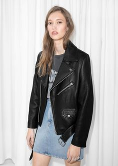 & Other Stories image 2 of Leather Biker Jacket in Black