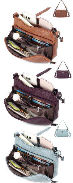 5bc27a7df6e Brenice Women Multi-slots Casual Handbag Genuine Leather Crossbody Bag  Shoulder Bag is designer