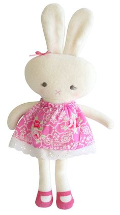 This super soft sweet fabric dress with a terry cloth head and body. The perfect size to hold, this ideal gift fits into your bag and will entertain for hours. Hello Kitty, Bunny, Dolls, Fabric, Kids, Babies, Gift Ideas, Products, Tejido