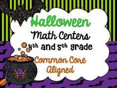 Halloween Math Centers for 4th and 5th Grade *Common Core Aligned*