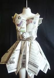 Image result for recycled clothing for kids out of newspaper