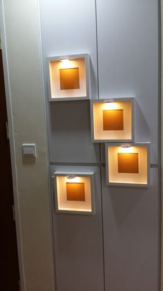 Decorative Night Lights to Keep Your Home Look Great at Night Outdoor Wall Lighting, Strip Lighting, Lighting Ideas, Ikea Frames, Frames On Wall, Bookcase Lighting, Hallway Lighting, Bedroom Furniture Inspiration, Fluorescent Light Covers