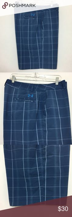 "Under Armour Mens Golf Shorts 40 Flat Front Blue Under Armour Mens Golf Shorts 40 Flat Front Blue Plaid 95% Polyester 5% Elastane Waist - 40"" Inseam - 10"" Length - 22"" Please take some time to view the other items in my store. All item condition ratings are done in honest good faith. Under Armour Shorts Flat Front"