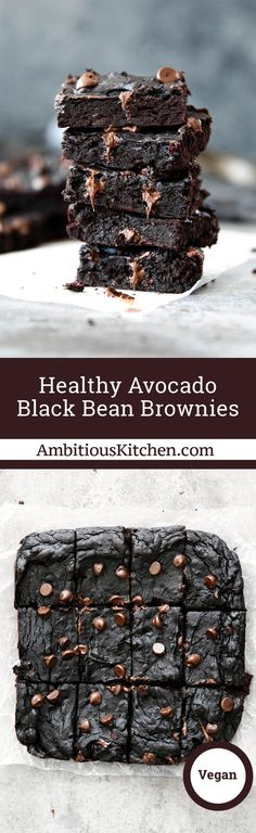 The BEST flourless Black Bean Brownies made with heart-healthy avocado and wholesome, real ingredients. The BEST flourless Black Bean Brownies made with heart-healthy avocado and wholesome, real ingredients. Avocado Brownies, Healthy Brownies, Brownie Desserts, Brownie Recipes, Chocolate Recipes, Chocolate Chips, Heart Healthy Desserts, Healthy Dessert Recipes, Healthy Baking