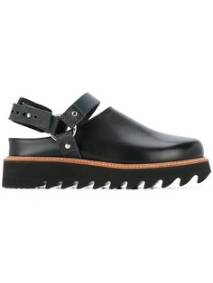 Shop Sacai cleated sole strapped loafers.