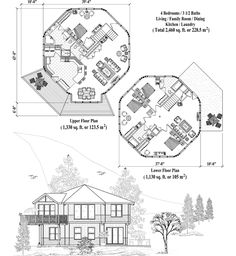 Online House Plan: Living, Family Room, Dining, Kitchen, Laundry - Two-Story Collection Round House Plans, Two Story House Plans, Best House Plans, Small House Plans, House Floor Plans, Building Plans, Building Design, Building A House, Earthship Plans