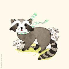 woodland wall art Raccoon print Baby raccoon Baby por joojoo