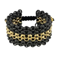 Black PVD and 14Kt Yellow Gold with Black Leather Sport Combo Cuff