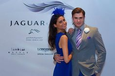 Jaguar Style Stakes media preview,  couple in pairing royal blue Dubai World, Spring Racing, Horse Racing, Jaguar, Royal Blue, Style Inspiration, Mens Fashion, Couples, Fashion Design