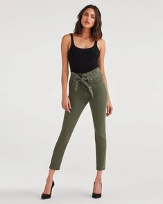 High waist skinny in army green made from oz stretch twill chosen for its ability to hold rich and saturated color. Designed with a paper bag waist with frayed edge and matching waist tie for an easy effortless look. Skinny Jeans Style, Something Navy, Girl Bottoms, Saturated Color, Girls Tees, Denim Fabric, 1 Oz, White Fashion, Army Green