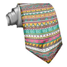 Shop Colorful Tribal pattern Neck Tie created by inspirationzstore. Custom Ties, Unique Image, Night Out, Vibrant, Colorful, Stylish, Prints, Pattern, How To Wear