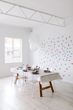 Well, we've got the perfect DIY for you! This super easy confetti wall is the finishing touch that every bright celebration needs. Diy Wall, Wall Decor, Wall Art, Party Market, Confetti Wall, Colorful Party, Childrens Party, Wall Spaces, Party Themes