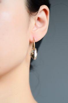 Neoglory Swarovski Elements Mujer Pendientes Colgantes Oro 14K Enchapado Piedra Cristal Austriaco Amarillo Joya Original Regalos para Mujer: Amazon.es: Joyería