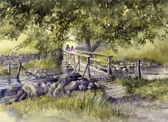 'Bridge Near Scafell Pike, Lake District' by artbyrachel Watercolor Painting Techniques, Watercolor Landscape Paintings, Landscape Drawings, Kids Watercolor, Watercolor Trees, Art Tutor, Pen And Wash, Old Paintings, Art For Art Sake
