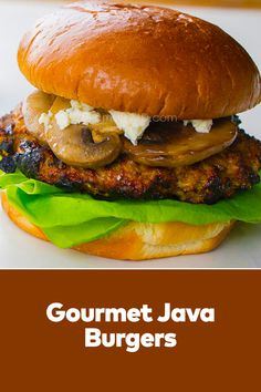 Homemade Gourmet Java Burgers patties and mouthwatering toppings make these upscale burgers easy recipes lunch a surefire hit. Best Lunch Recipes, Easy Recipes, Easy Meals, Cheese Buns, Surefire, Lunches And Dinners, Salmon Burgers, Java, Ground Beef