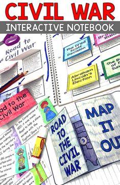 Civil War Map and Activities Social Studies Projects, Social Studies Classroom, Social Studies Activities, Teaching Social Studies, Classroom Activities, Student Learning, Activities For Kids, Teaching Resources, Teaching Ideas