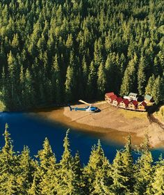 British Columbia's Nimmo Bay Resort—comprising a floating lodge, a floating bakery, and nine guest cabins—has three helicopters by which guests access both the hotel and earth's largest temperate rain forest.. wow