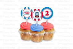 Printable DIY Blue and Red Thomas the Train Theme Personalized Happy Birthday Cupcake Toppers. $5.00, via Etsy.