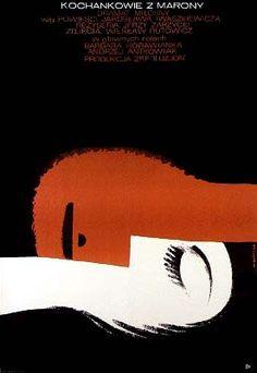 Vintage Polish movie poster 1966 by Wiktor Gorka: Kochankowie z Marony