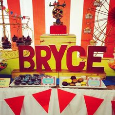 Wooden letters at a carnival boy birthday party!   See more party ideas at CatchMyParty.com!