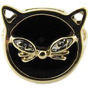 Vintage 10 Karat Yellow Gold Black Onyx Cat Ring Size 4.5