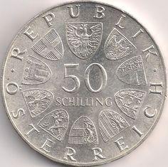 Wertseite: Münze-Europa-Mitteleuropa-Österreich-Schilling-50.00-1974-Dom zu Salzburg Salzburg, Austro Hungarian, Austria, Coins, Personalized Items, World, Vintage, Dom, Old Coins