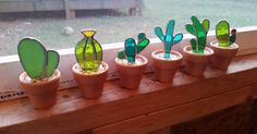Set of 6 Stained glass cactus Great gift for the by MooncalfGlass | Gifts for Me! | Pinterest | Cacti, Plants and Glass