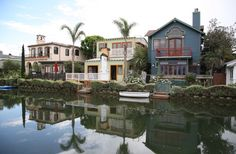 The Venice Canals in Los Angeles, California, USA.