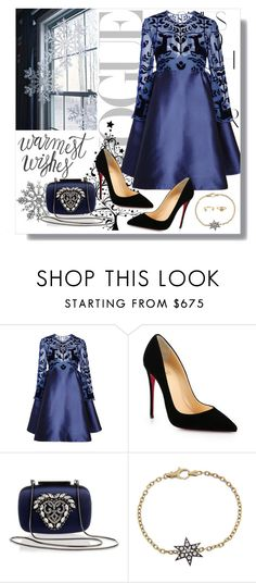 """BLUE CHRISTMAS"" by inesmarzouki ❤ liked on Polyvore featuring Rika, Honor, Christian Louboutin, Manolo Blahnik, Blackbird and the Snow and Johnny Loves Rosie"