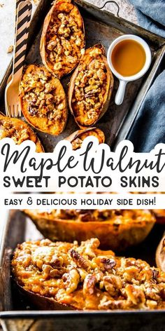 These twice baked brown sugar maple walnut sweet potatoes are the perfect spin o. These twice baked brown sugar maple walnut sweet potatoes are the perfect spin on sweet potato skin Veggie Dishes, Vegetable Recipes, Food Dishes, Thanksgiving Recipes, Fall Recipes, Holiday Recipes, Thanksgiving Sides Gluten Free, Easy Thanksgiving Side Dishes, Easy Side Dishes