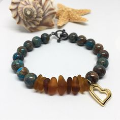 Crazy Lace Agate Sea Glass Beaded Bracelet with Yellow Gold Vermiel Heart Charm