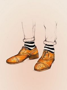 Hipster styled oxfords fashion illustration