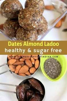 healthy, sugar free dates and almond ladoo recipe. healthy dessert or a snack made in less than 5 minutes is this khajur badam ladoo. It can also be called almond date energy ball. Date Recipes Healthy, Healthy Indian Snacks, Vegetarian Snacks, Healthy Snacks For Kids, Baby Food Recipes, Indian Food Recipes, Indian Snacks For Kids, Dinner Recipes, Food Baby