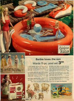 Ward's Exclusive Barbie Inflatable Pool Set, Barbie's Beach Bus and Olympic Ski Village from the Montgomery Ward Christmas Catalog, 1975 Vintage Barbie Dolls, Vintage Toys, Childhood Toys, Childhood Memories, Crochet Applique Patterns Free, Malibu Barbie, Christmas Catalogs, Barbie World, Barbie Friends